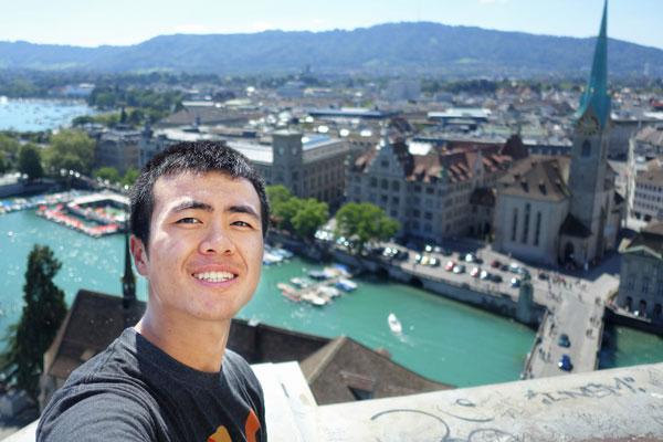 Peter Wen overlooking the city of Zurich