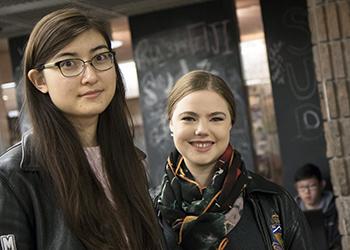 Elizabeth White (Year 4 ChemE), at left, and Julia Filiplic (Year 4 MechE). (Credit: Romi Levine)