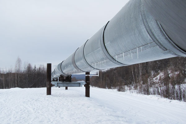 Section of the Trans Alaska Pipeline near Fairbanks, AK.