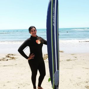 Netra Unni Rajesh (Year 3 EngSci) takes a break from her summer research to surf at Mondo's Beach. (Courtesy: Netra Unni Rajesh)